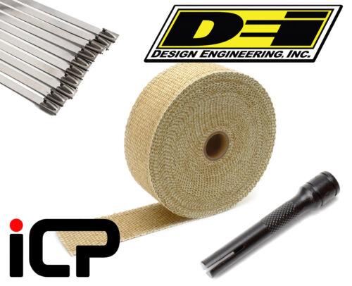 "DEI Tan Glass Fiber Heat Exhaust Wrap Stainless Ties /& Tool Kit 2/""x50FT Roll"