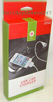 White Usb Car Charger + Cable For Apple Ipod Nano Iphone 3g 3gs 4 4s Ipad 1 2