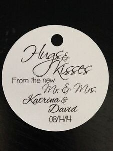 PERSONALIZED Round Wedding Favor Gift Tags Hugs Kisses Mr Mrs | eBay