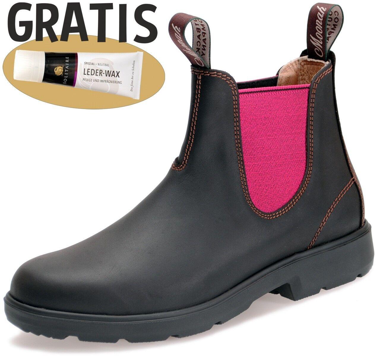 Moonah Boots Damen Teens Outdoor Leder - Dark Brown mit Gummizug PINK + Lederwax
