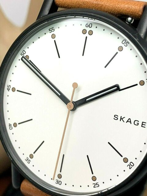 Skagen Men's Watch SKW6352 Black Case White Dial Brown Leather Band Quartz 40mm