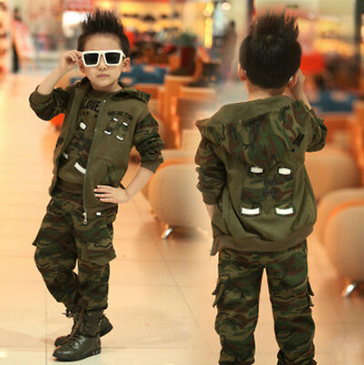 3PCS Boy Camouflage Outfits Tracksuit Hooded Waistcoat Hoodie Trousers Sets 3-10