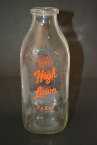 Vintage High Lawn Farm 1 Quart Glass Milk Bottle Antique Dairy Orange Pyro