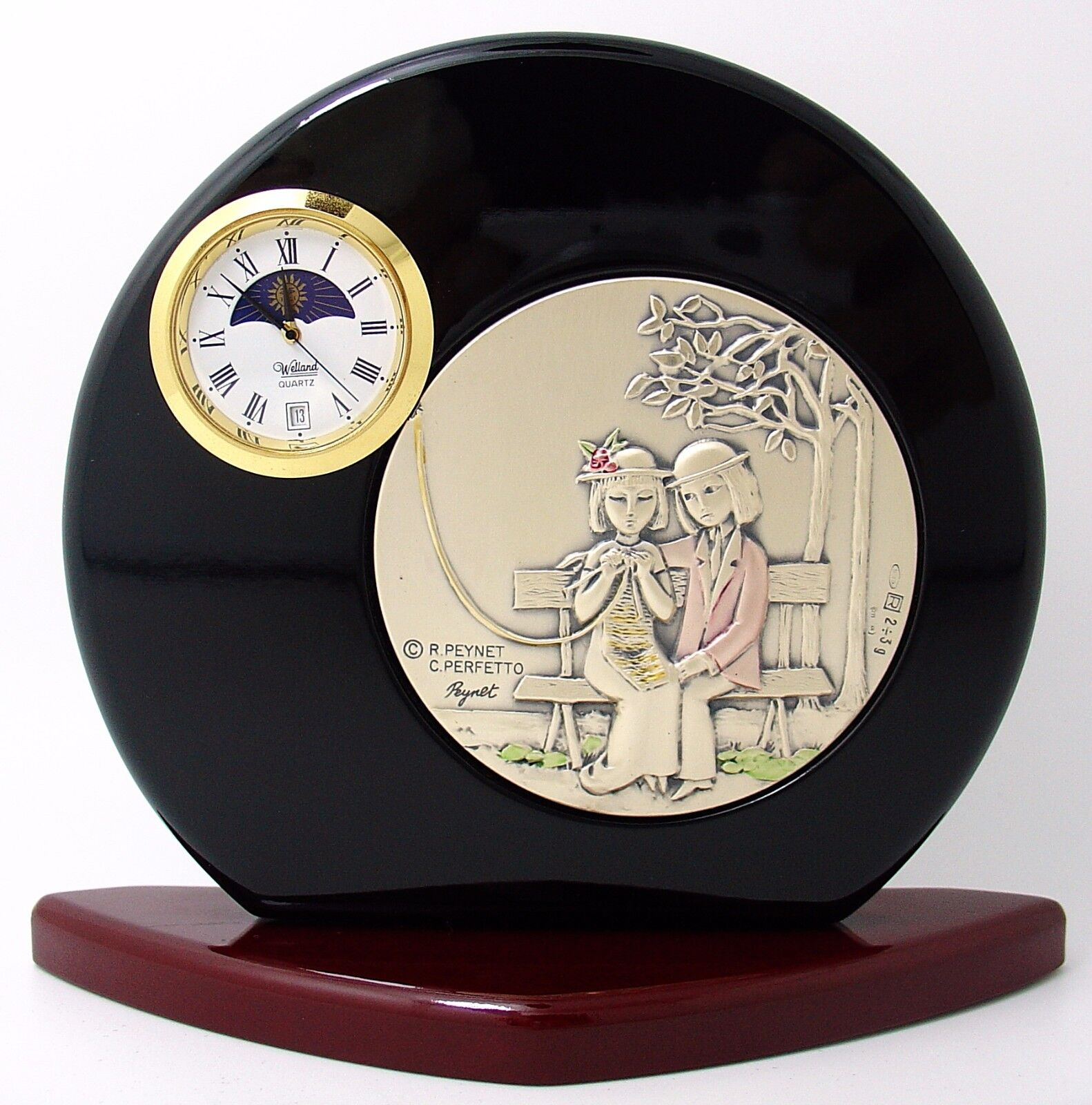 VALENTINO E VALENTINA RAYMOND VINTAGE PEYNET OROLOGIO ARGENTO SILVER CLOCK VINTAGE RAYMOND 006a0e