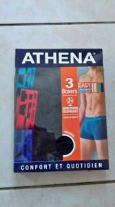 LOT DE 3 BOXERS ATHENA EASY SPORT TAILLE S NEUF DANS EMBALLAGE