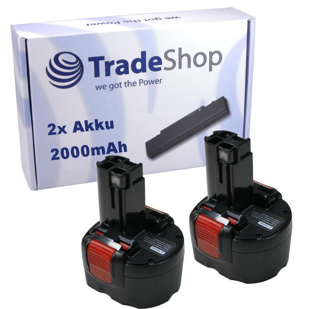 2x AKKU für Bosch 9,6V 2000mAh Ni-MH ersetzt 2 607 300 002, 2607300002
