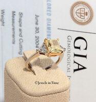 3.14 Carat Fancy Yellow Platinum 18k Yellow Gold Diamond Ring GIA Certificate
