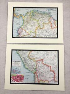 1920-Antique-Prints-Map-of-South-America-Bolivia-Colombia-Peru-Venezuela-La-Paz