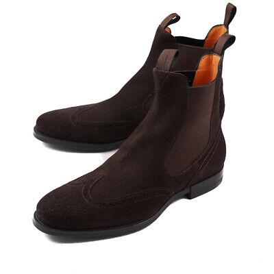 NIB $895 SANTONI Black Suede Chelsea Ankle Boots with Rubber Sole US 6 Shoes