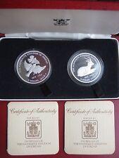 Jordan 1977 2,5 & 3 Dinari SUN BIRD & Gazzella CONSERVAZIONE ARGENTO PROOF MEDAGLIA Set