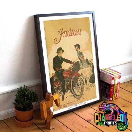 Indian Motorbike Vintage Poster A3 A4 Motorcycle Vintage Prints