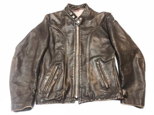 Vintage Schott Cafe Racer Leather Jacket Brown Mot