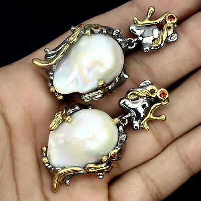 Handmade Baroque 25x18 Mm Creamy White Pearl Red Sapphire 925 Silver Earrings