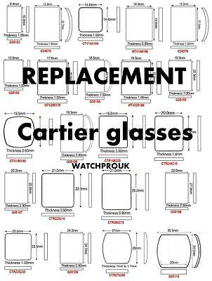 Quality Replacement Glass Crystal To Fit Cartier Tank Older Models And New