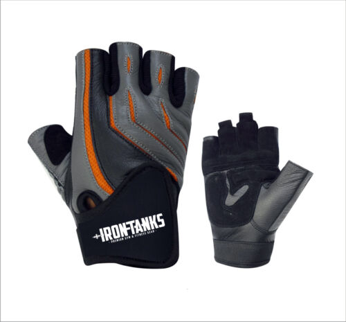 MENS PRO LEATHER GYM FITNESS WEIGHTLIFTING STRAPS WRAPS GLOVES S068 GREY//BLACK