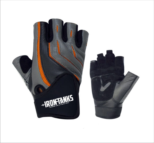 MENS PRO LEATHER GYM FITNESS WEIGHTLIFTING STRAPS WRAPS GLOVES S068 GREY/BLACK