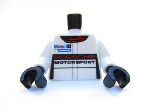 LEGO White Torso Race Suit Porsche Mobil Logo 1 Part Piece 973pb1984c01