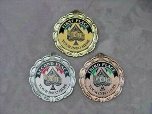 HOLD EM POKER MEDALS SET OF THREE CUSTOM MEDALLIONS with FREE LETTERING *