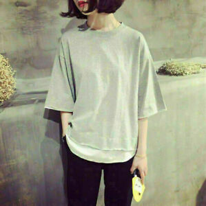 New-Women-Girl-039-s-Korean-Fashion-Casual-Short-Sleeve-T-shirt-Loose-Blouse-Tops
