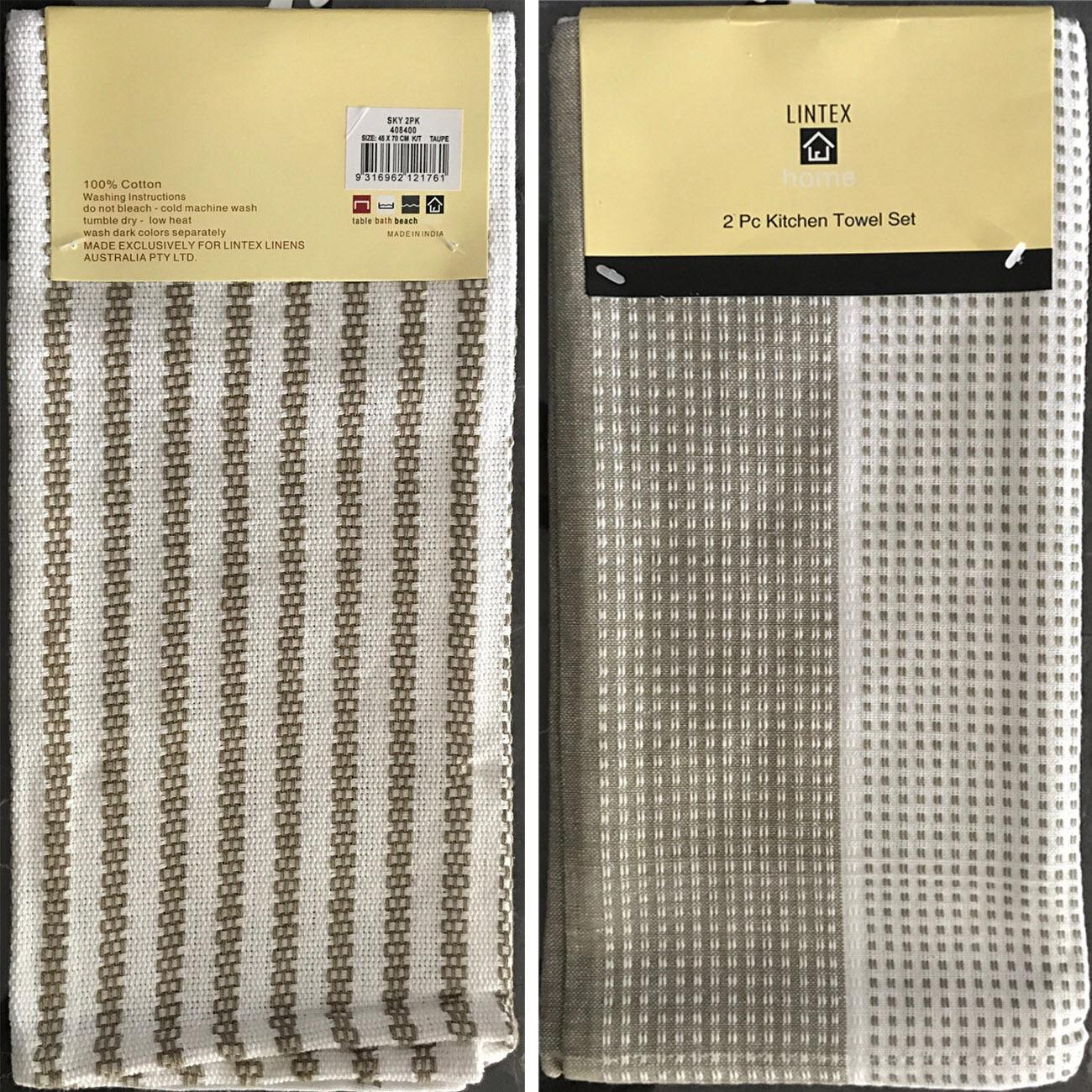 2 Piece Taupe Kitchen Tea Towels Set 100 Cotton Size 45x70cm Lintex Home Ebay
