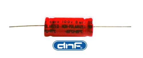 FREE SAME DAY SHIPPING 8.0 MFD Axial Electrolytic Non-Polar Capacitor 100 VOLT