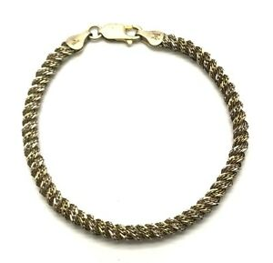 Italy Vintage Oxidized Sterling 925 Mesh Rope Style Twist Fancy Chain Bracelet