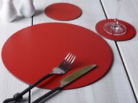 Set of 8 RED Round Leatherboard PLACEMATS & 8 COASTERS (16 Piece Set)
