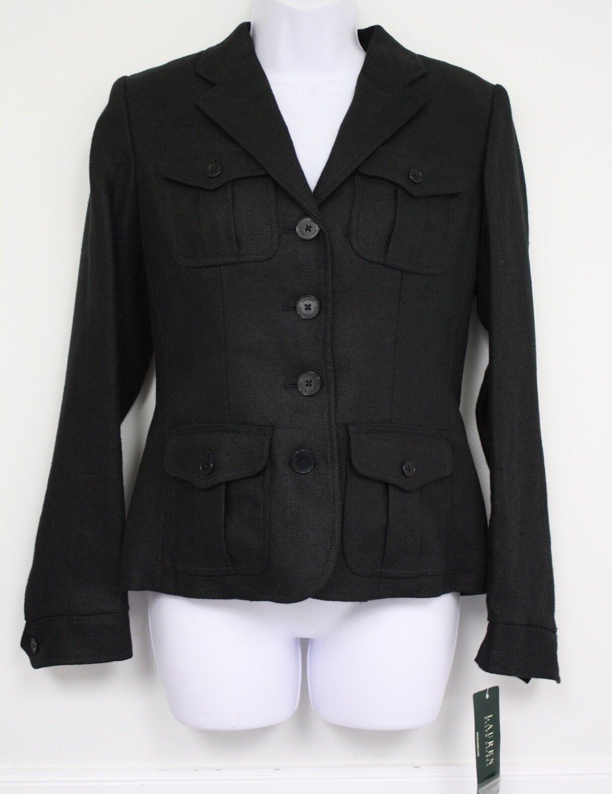 Ralph Lauren para Mujer  Traje Chaqueta Abrigo Negro ret 270 tamaño 4 Bolsillos Tejido Grueso  40% de descuento