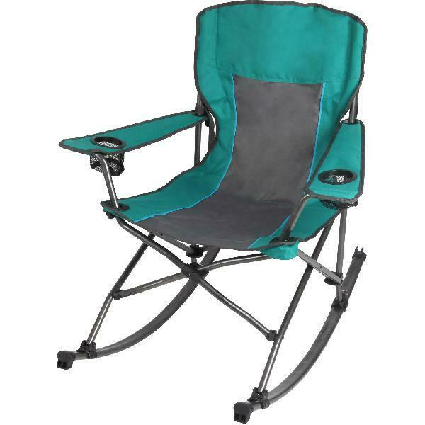 Ozark Trail Quad Fold Rocking Camp Chair with Cup Holders, Green