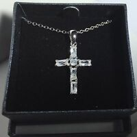 Clear Rhinestone Cross Pendant With 18 Necklace In A Gift Box