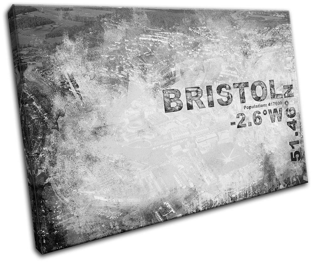 Bristol England City Typography SINGLE Leinwand Wand Kunst Bild drucken
