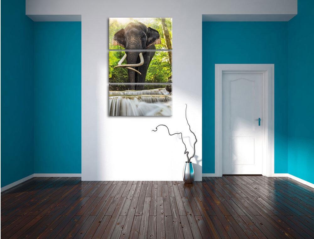 Elefante Am Bach en 3-Teiler Foto en Bach Lienzo Decoración de Pared Impresión Artística ca3c4c