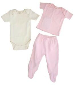 Newborn Baby Clothes /%100 Organic Footed Pants Long Sleeve Tee Bib Hat Mitten