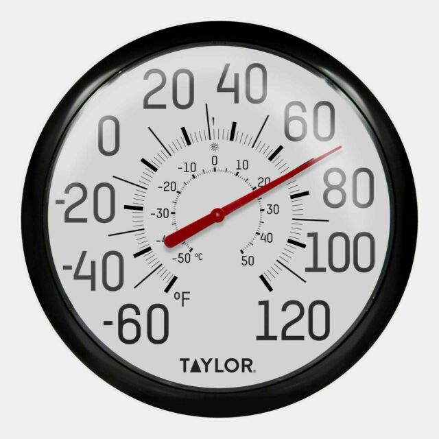 """#6700 TAYLOR Large 13.5"""" EASY TO READ In/Outdoor Black Dial Thermometer F/C NEW!"""