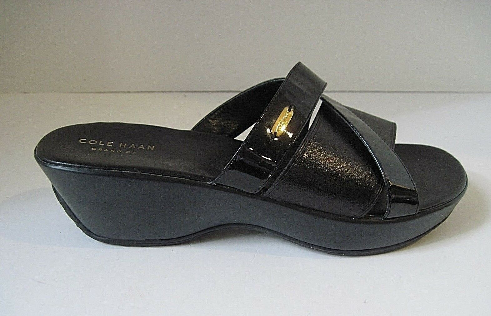 COLE HAAN HAAN HAAN Grand OS donna Wedge Comfort Slides nero Patent Leather Elastic 9B 86e139