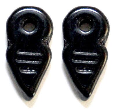 2 CZECH GLASS BERBER CHARMS // PENDANTS // AMULETS CRYSTAL TALHAKIMT 19 X 9 MM