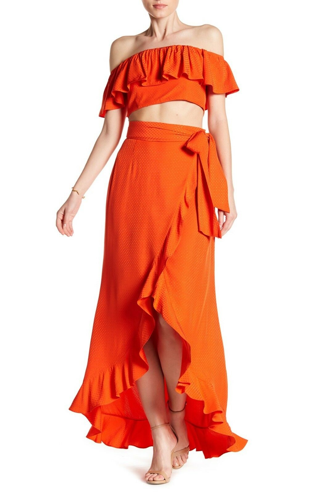 JAY GODFREY Ruffle Crop Top & Wrap Skirt 2-Piece Set