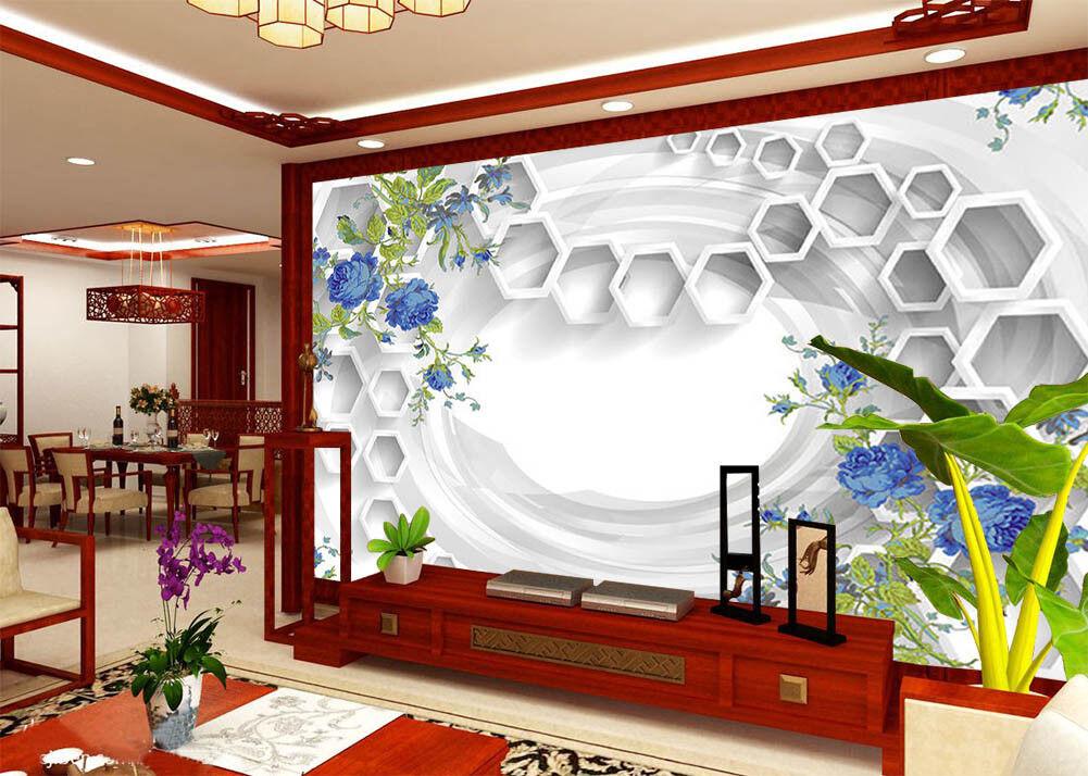 lila Flower Leaves 3D Full Wall Mural Photo Wallpaper Printing Home Kids Decor