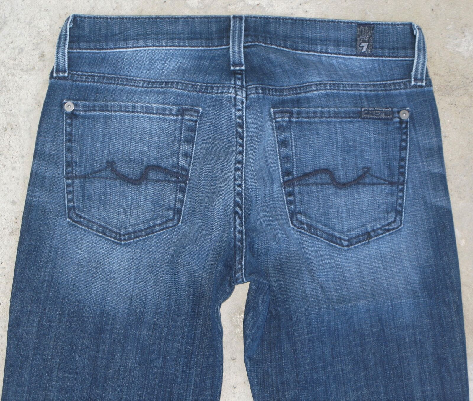 7 for all Mankind Womens Bootcut Jeans Sz 25 Distresssed Wash w Stretch