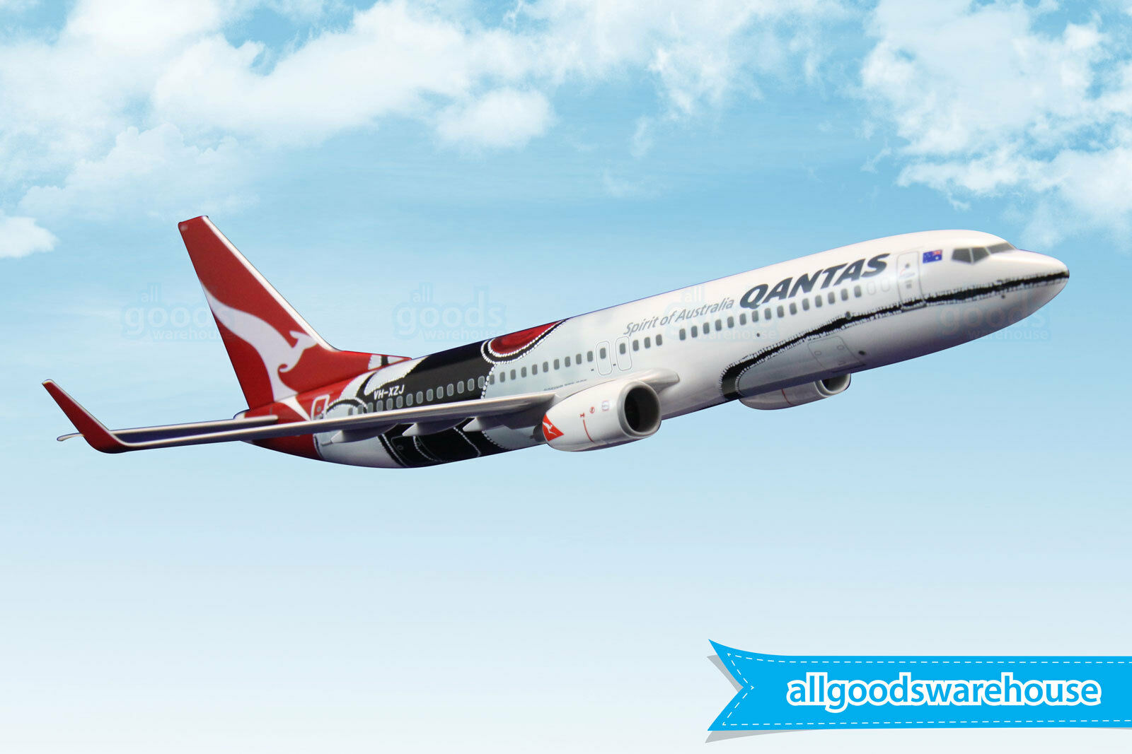 Qantas 737-800 mendoowoorrj VH-xzj 1 130 Escala Modelo de Avión 737 de plástico sólido