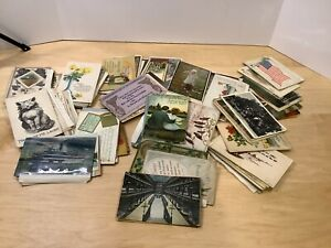 LOT-OF-130-VINTAGE-POSTCARDS-Mostly-1908-1920-USED-UNUSED-mostly-USA