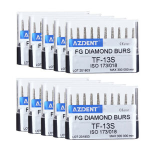 10Box Dental Diamond High Speed Burs TF-13S Super Coarse Taper Flat AZDENT