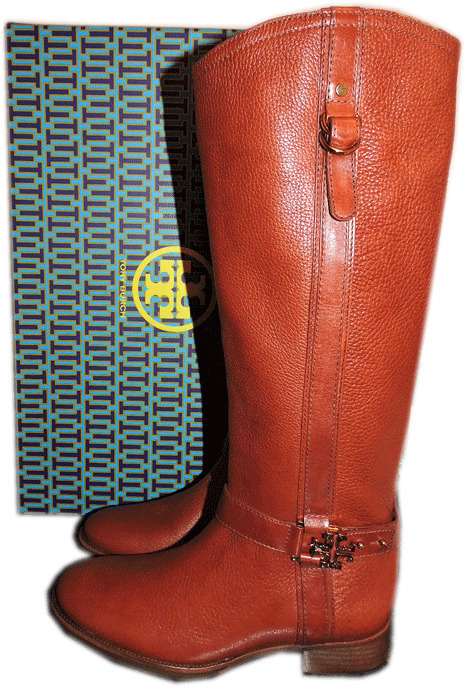 495 Tory Burch 'elina Riding Boot Tall Flat Equestrian Bootie 9.5 Gold Logo