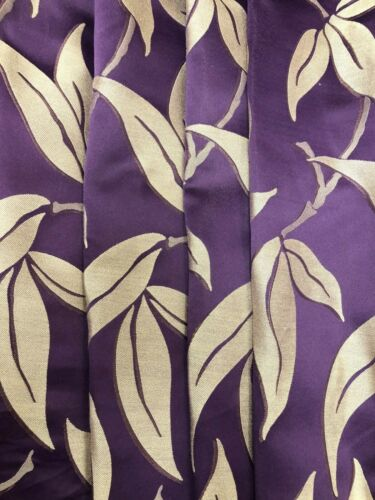 Stunning Gold Foliage Pattern on Purple Curtain Fabric//Material New BR056