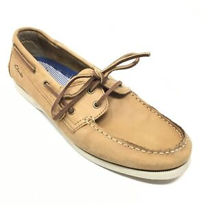 Men-039-s-Clarks-Casual-Boat-Shoes-Sneakers-Size-10M-Brown-Leather-Moc-Toe-R10