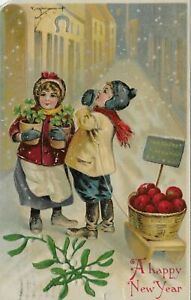 Embossed-New-Year-Postcard-Victorian-Boy-Girl-Nicetown-Flag-Cancel