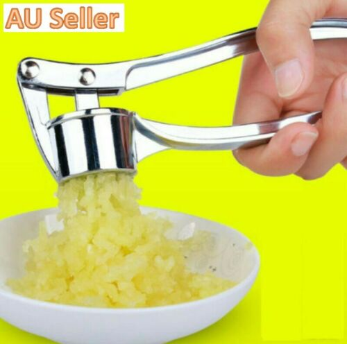 Stainless Steel Garlic Press Crusher Squeezer Masher Home Kitchen Mincer Tool