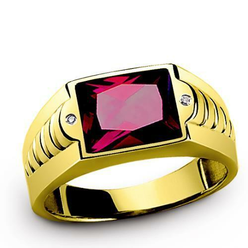 NEW Red Ruby Ring for Men with Diamonds in REAL 14K Fine Yellow gold all sizes
