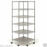 Heavy Duty Wire Metal Steel 6-tier Corner Storage Shelving 28 X 18 X 15 X 72
