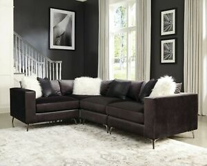 Details about DARK CHARCOAL VELVET 4 PC SECTIONAL SNAZZY PILLOWS LIVING  ROOM FURNITURE